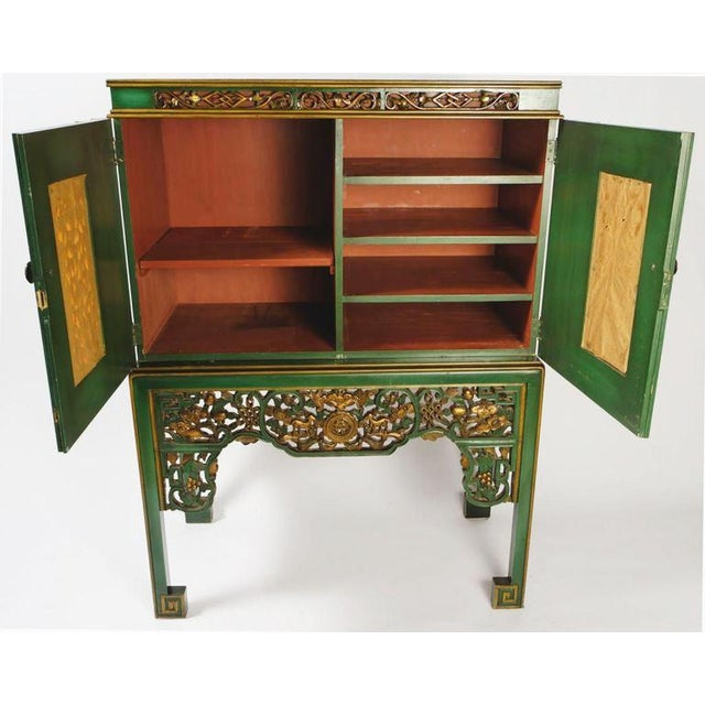 Emerald Green Chinese Cabinet Inset With Gilt Antique Panels For Sale - Image 4 of 11