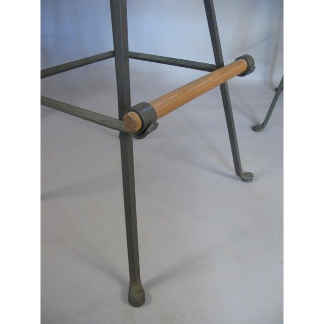 Cleo Baldon Iron & Oak Swivel Barstools - Set of 4 For Sale In New York - Image 6 of 10