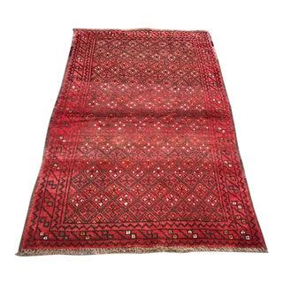 "Patterned Afghan Wool Rug - 3'6"" X 5'8"" For Sale"