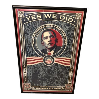 Shepard Fairey Numbered Framed Yes We Did Obama Lithograph For Sale