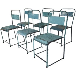 Vintage Russian Stacking Metal Chairs For Sale