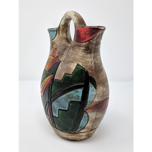 Vintage ceramic vase with abstract detailing, reminiscent of Memphis design. In excellent condition, with wear consistent...