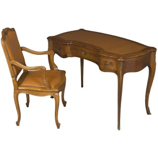 1900s Louis XV Cherrywood Writing Desk and Chair - 2 Pieces For Sale