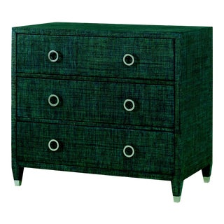 Century Furniture Charleston 3 Drawer Chest (w/glass), Aqua For Sale