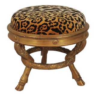 20th Century Charles X Style Giltwood Leopard Upholstered Stool For Sale