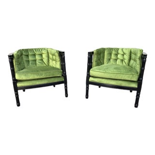 Mid-Century Faux Bamboo Barrel Back Chairs - a Pair For Sale