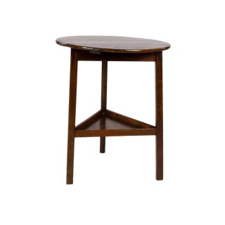 1850 English Small Scale Painted Cricket Table With Triangular Lower Shelf For Sale
