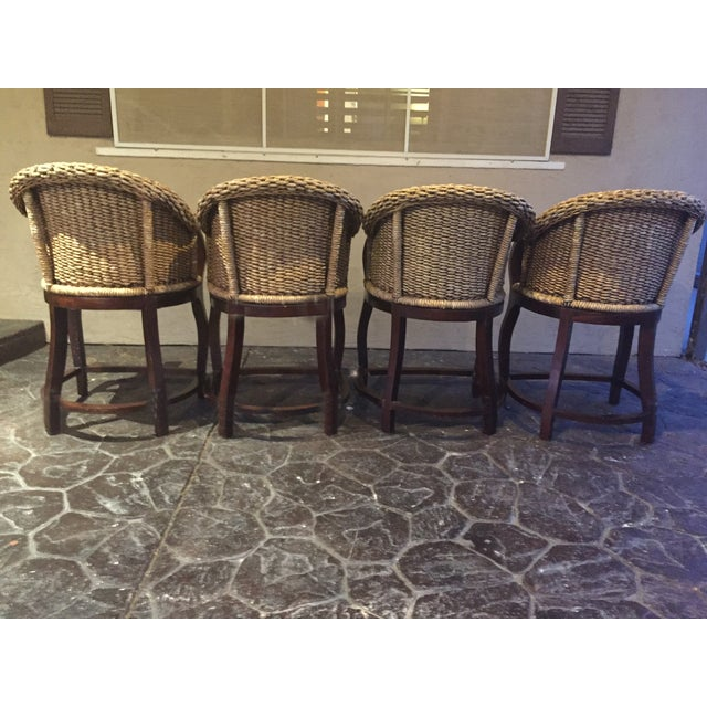 Vintage Banana Wicker Counter Stools - Set of 4 - Image 4 of 6