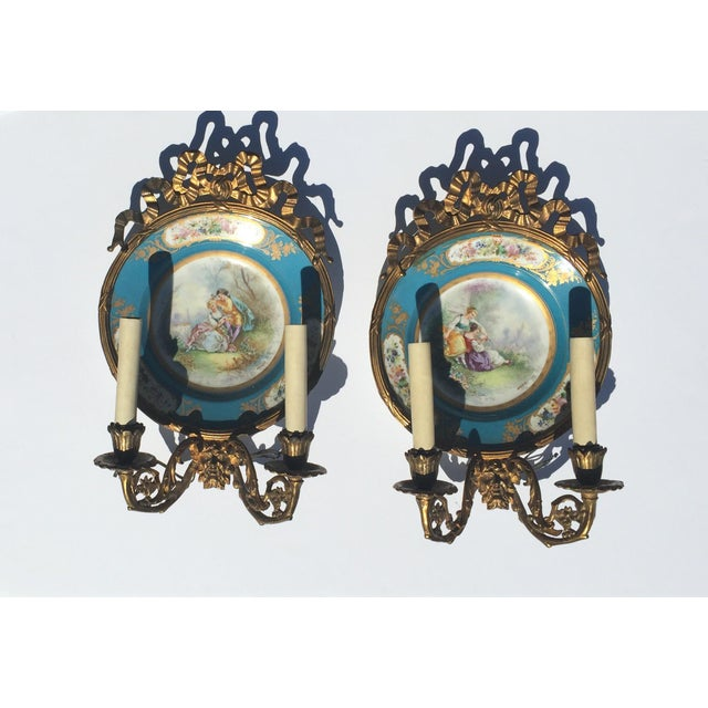 Antique Plate Wall Sconces - A Pair - Image 3 of 11