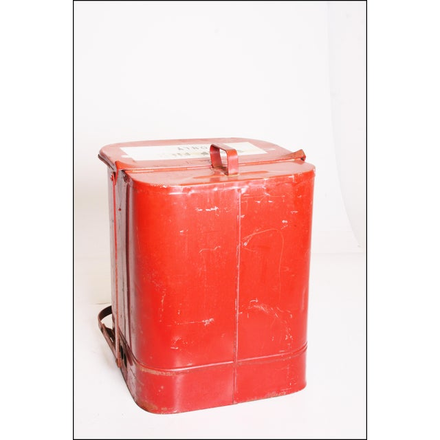 Vintage Industrial Red Metal Trash Can with Flip Top Lid - Image 3 of 11