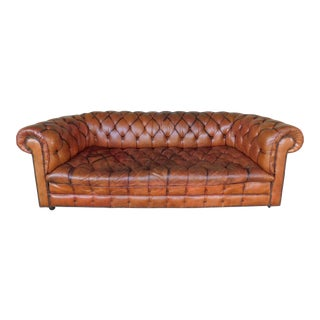 "Vintage English Leather Chesterfield Tufted Sofa ""B"""