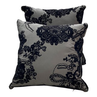 Contemporary Noire Flocked Pillows - a Pair For Sale