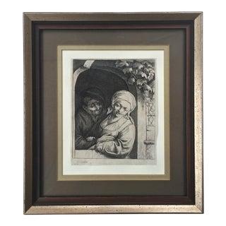 Antique Dutch 'Village Romance' Etching 1667 by Adrian Van Ostade For Sale