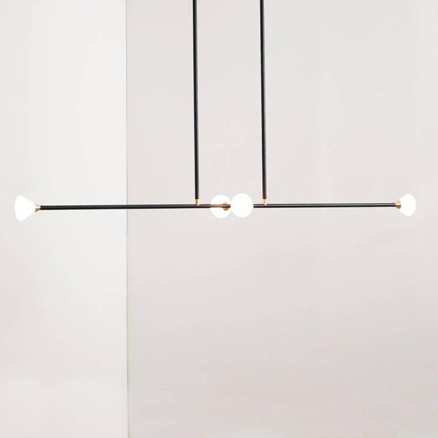Gold Contemporary Matte Black Linear McKenzie and Keim Apollo Four LED Chandelier For Sale - Image 8 of 12