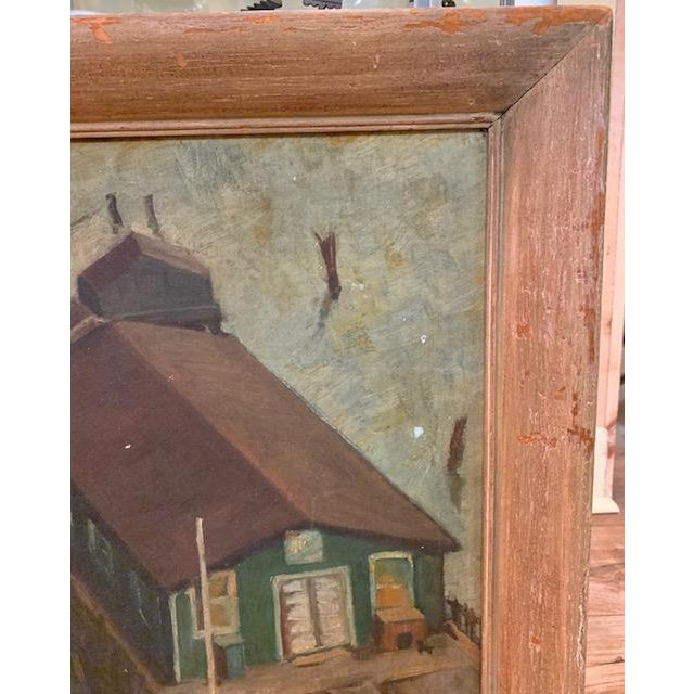 Wpa Era 1940 Oil Painting - Houseboat - Signed For Sale - Image 4 of 9