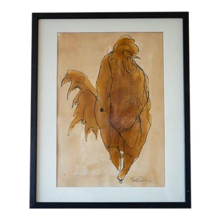 Contemporary Rooster Watercolor Painting For Sale
