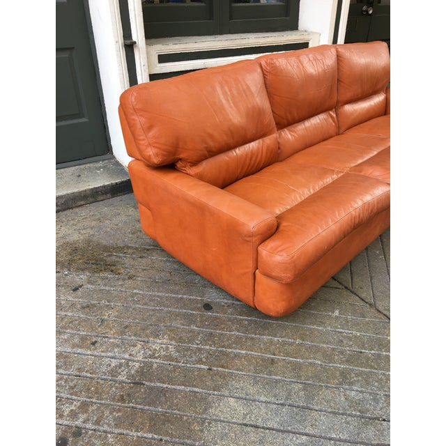 Saporiti Leather Sofa in it's Original Burnt Orange Leather. New foam added to cushions to fill them out again. One small...