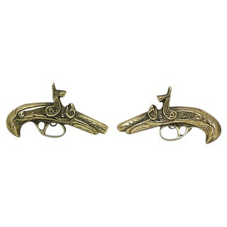 1950s English Brass Pistol Wall Ornaments - a Pair