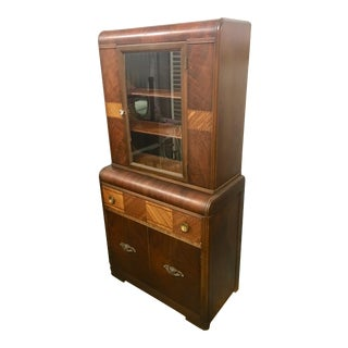 1940s Antique Art Deco Burl Wood China Cabinet For Sale