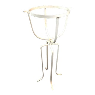 Vintage Mid-Century Modern White Wrought Iron Plant Stand