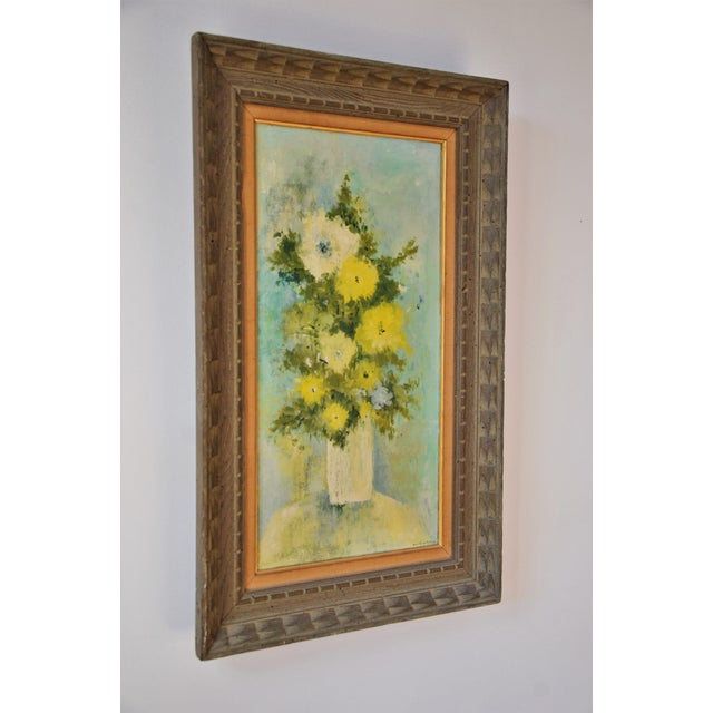 """Vintage Framed Mid-Century Flower Painting on Canvas """"White Vase"""" by Emily Whaley For Sale - Image 4 of 11"""