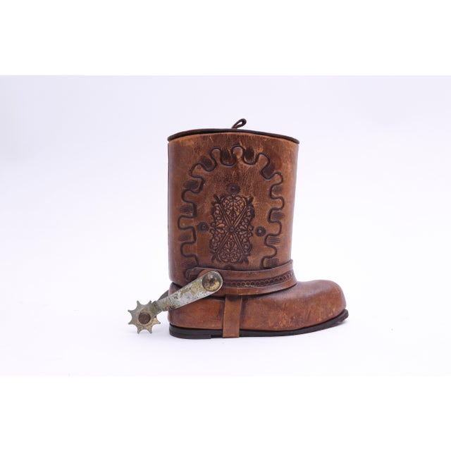 Country Genuine Leather Cowboy Boot Cigar / Tobacco Canister For Sale - Image 3 of 7