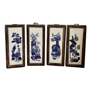 Antique Chinese Blue & White Pottery Framed Panels - Four Seasons For Sale