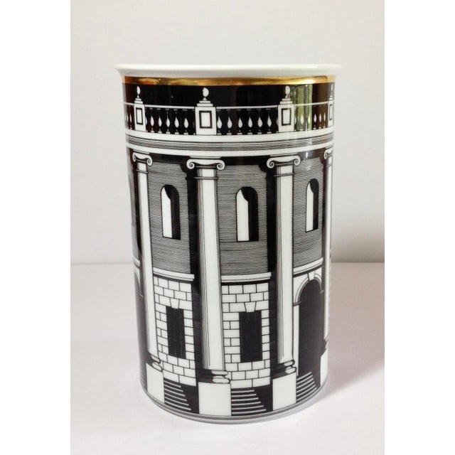 Piero Fornasetti design in the Palladiana black & white architectural with gold accent pattern, manufactured by Rosenthal...