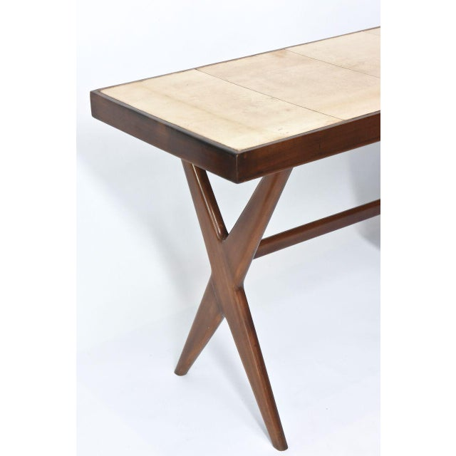 1950s Italia Modern Mahogany and Parchment Desk, Silvio Cavatorta For Sale - Image 5 of 10