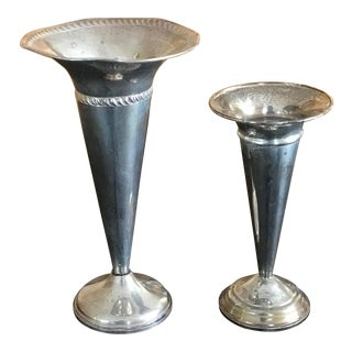 Vintage 1950s Sterling Silver Vases - a Pair For Sale