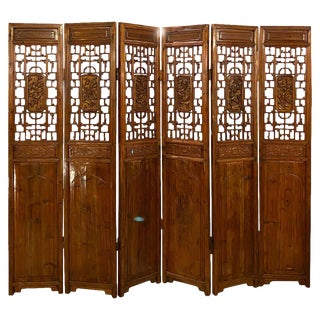 Six-Panel Teak Asian, Early 20th Century Folding Screen / Room Divider For Sale