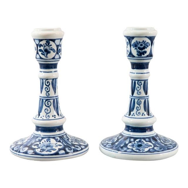 Vintage Dutch Delft Candlesticks - a Pair For Sale