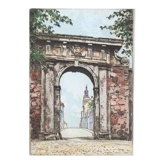 Mid 20th Century Etching Kalmar Sweden City Gate For Sale