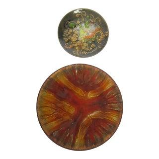 Boho Copper Enamel Bowls - A Pair