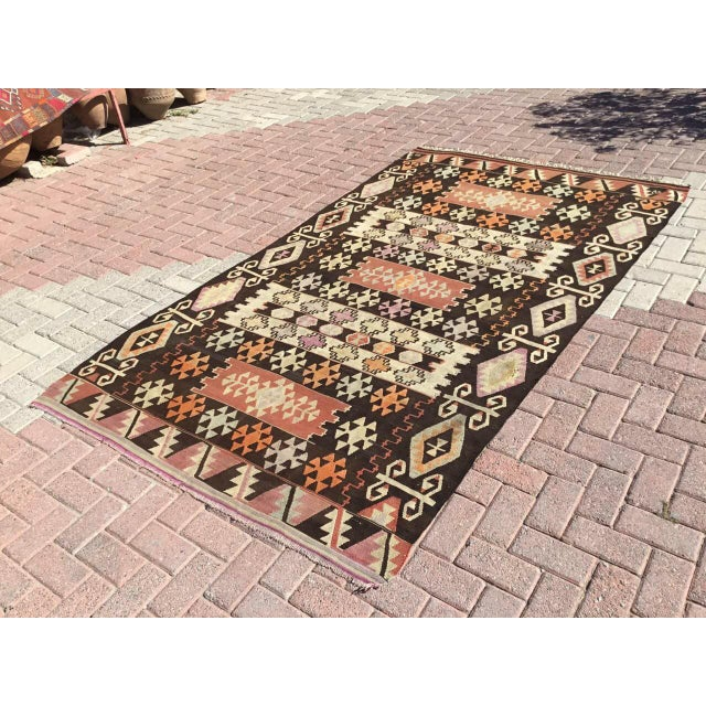 Islamic Vintage Turkish Kilim Rug - 5′1″ × 8′7″ For Sale - Image 3 of 8