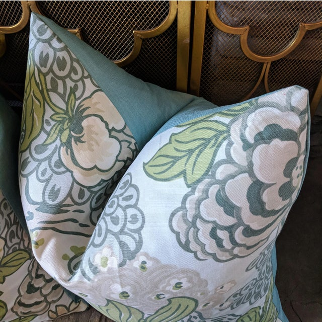 One pair of decorative pillow covers featuring a floral print design on home decor weight fabric. For a custom made look,...