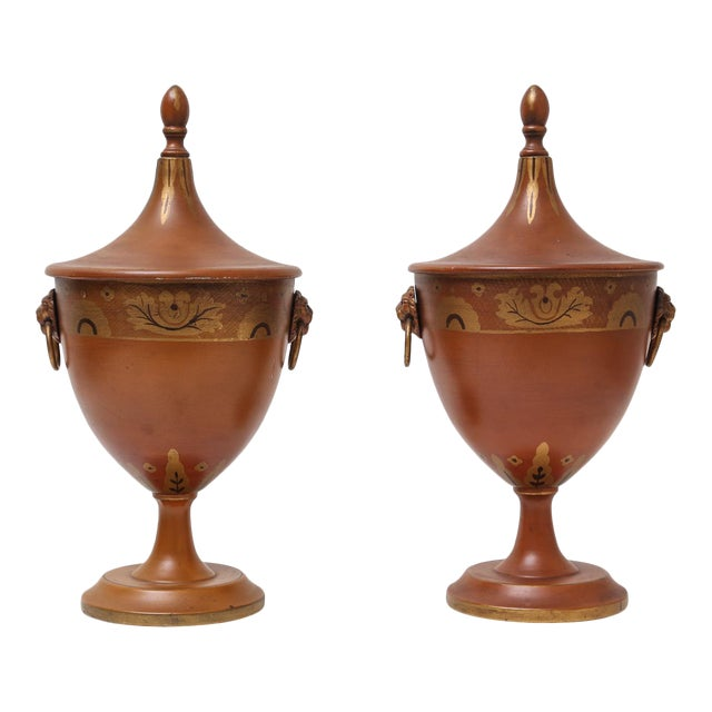 Antique Continental Tole Ware Chestnut Urns - A Pair For Sale