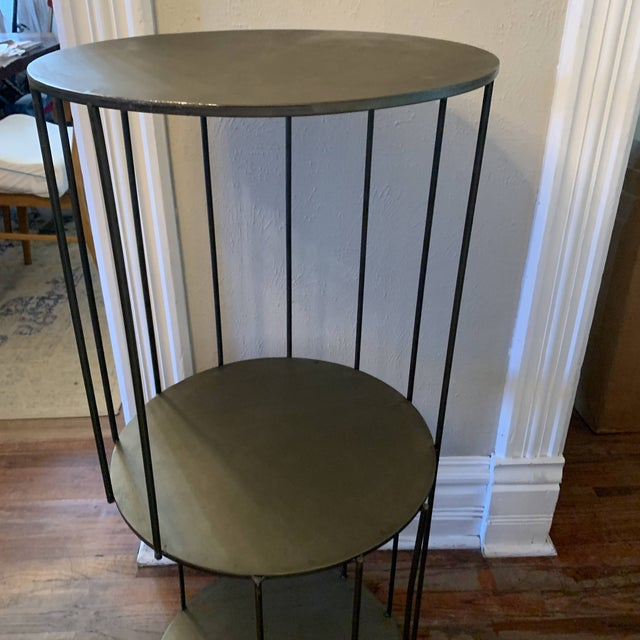 Gray Kalalou Tall Metal Round Side Table For Sale - Image 8 of 13