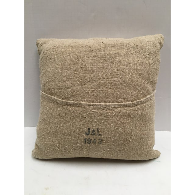 Country Custom Swiss 1943 Grain Sack Pillows -- a Pair For Sale - Image 3 of 8