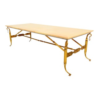 Arturo Pani Parchment and Brass Coffee Table Hollywood Regency For Sale