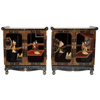 C. 1920-1940s Coromandel Cabinets, Pair