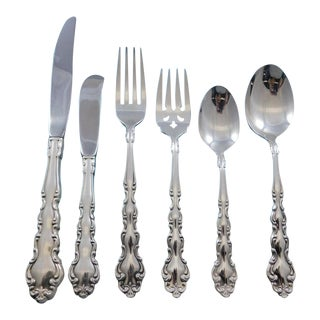 Modern Baroque by Community Oneida Silverplate Flatware Set Service 61 Pieces For Sale