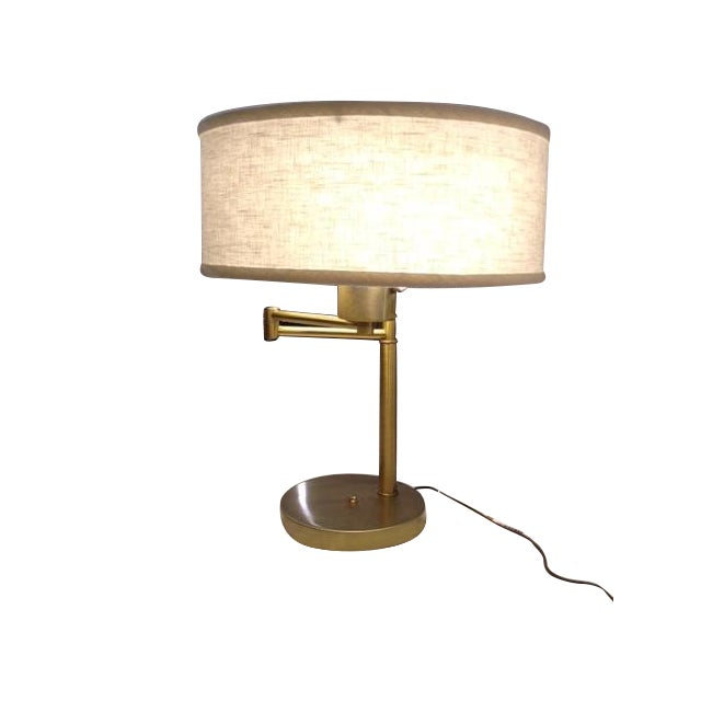 Vintage Brass Swing Arm Desk Lamp with Drum Shade - Image 7 of 7