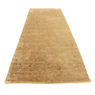 Contemporary Hand Knotted Cordoba Design Blue and Gold Wool and Silk Rug - 3′ × 8′4″ For Sale