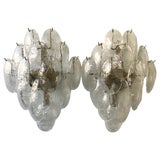 Image of Pair of Large 1970s Mazzega Glass Sconces For Sale