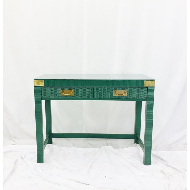 Vintage Mid-Century Campaign Green Desk - Image 2 of 11