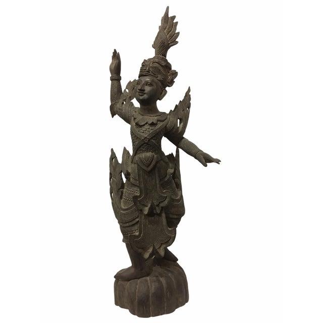 Antique 1920s Carved Khamphi Rosewood Burmese Temple Guardian Statue For Sale - Image 10 of 10