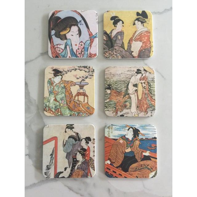 Japanese Geisha Women Coasters - Set of 6 For Sale - Image 10 of 10