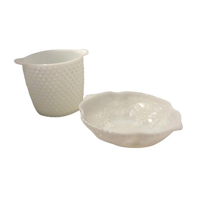 Hobnail Milk Glass Ice Bucket & Bowl - Image 1 of 6