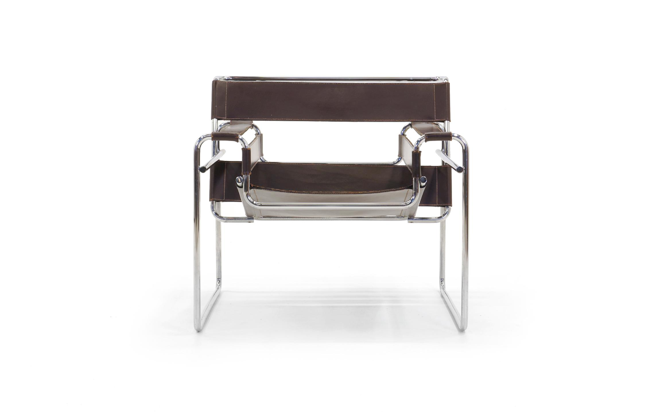 Captivating Early Original Knoll Gavina Wassily Chair By Marcel Breuer In Brown Leather    Image 2 Of